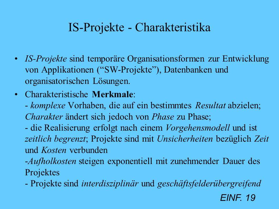 EINF. 19 IS-Projekte - Charakteristika IS-Projekte sind temporäre Organisationsformen zur Entwicklung von Applikationen (SW-Projekte), Datenbanken und
