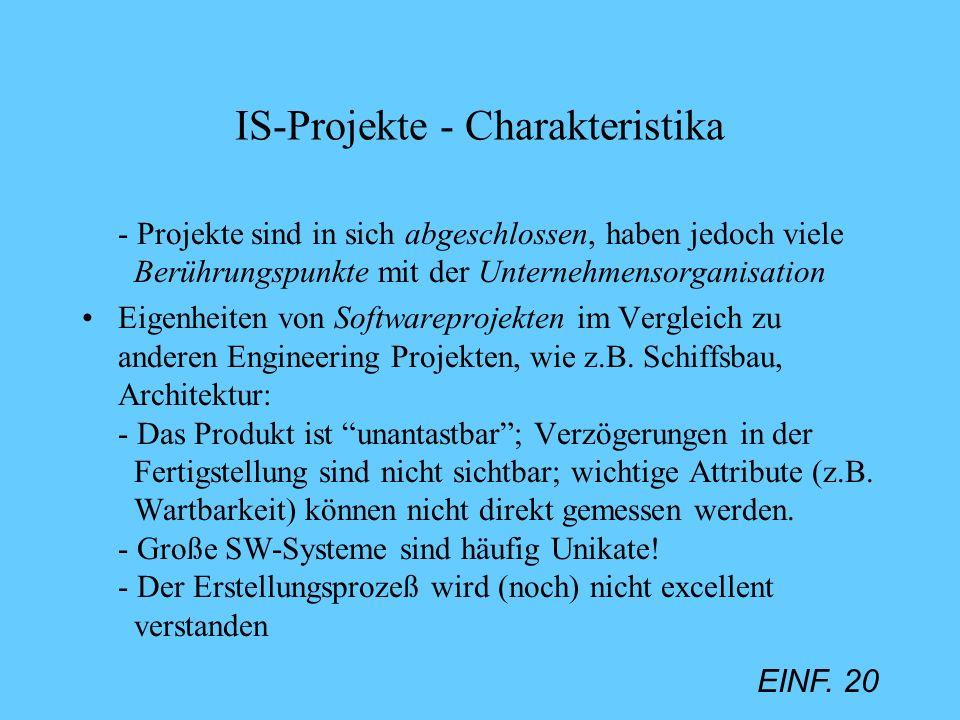 EINF. 20 IS-Projekte - Charakteristika - Projekte sind in sich abgeschlossen, haben jedoch viele Berührungspunkte mit der Unternehmensorganisation Eig