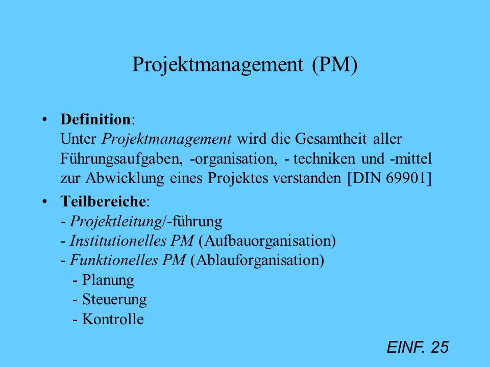 EINF. 25 Projektmanagement (PM) Definition: Unter Projektmanagement wird die Gesamtheit aller Führungsaufgaben, -organisation, - techniken und -mittel