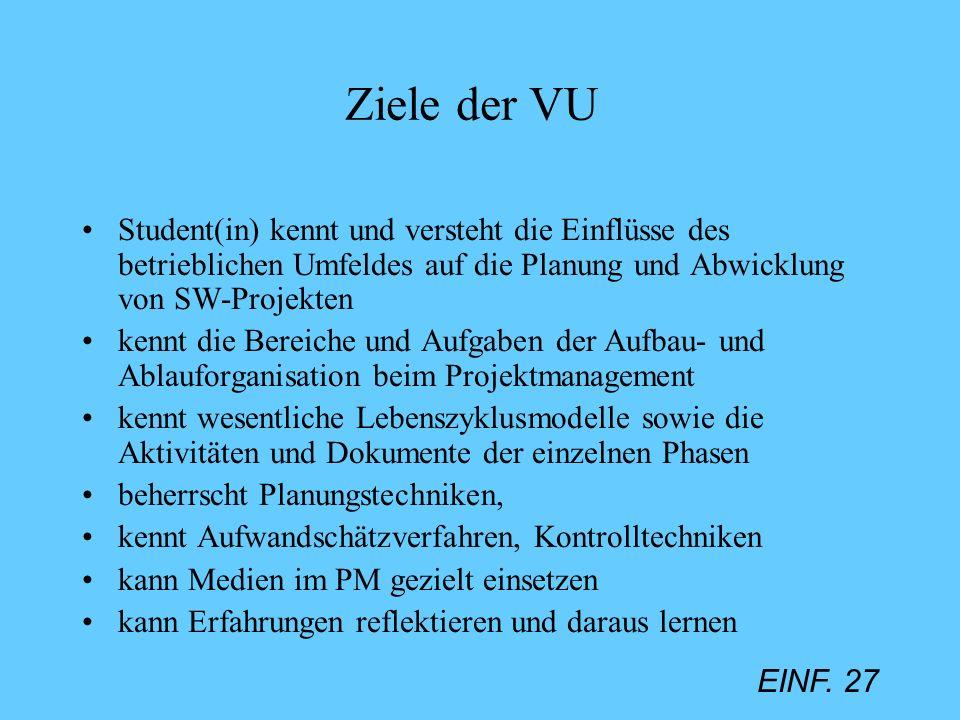 EINF. 27 Ziele der VU Student(in) kennt und versteht die Einflüsse des betrieblichen Umfeldes auf die Planung und Abwicklung von SW-Projekten kennt di