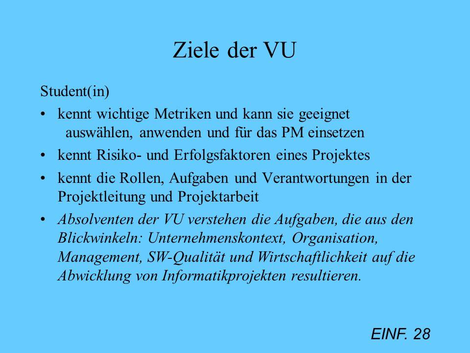 EINF. 28 Ziele der VU Student(in) kennt wichtige Metriken und kann sie geeignet auswählen, anwenden und für das PM einsetzen kennt Risiko- und Erfolgs