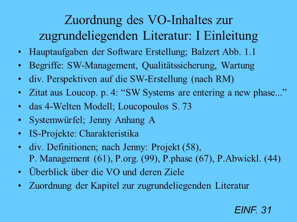 EINF. 31 Zuordnung des VO-Inhaltes zur zugrundeliegenden Literatur: I Einleitung Hauptaufgaben der Software Erstellung; Balzert Abb. 1.1 Begriffe: SW-