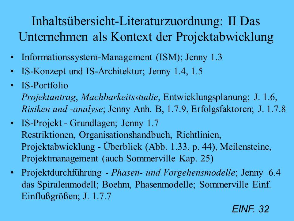 EINF. 32 Inhaltsübersicht-Literaturzuordnung: II Das Unternehmen als Kontext der Projektabwicklung Informationssystem-Management (ISM); Jenny 1.3 IS-K
