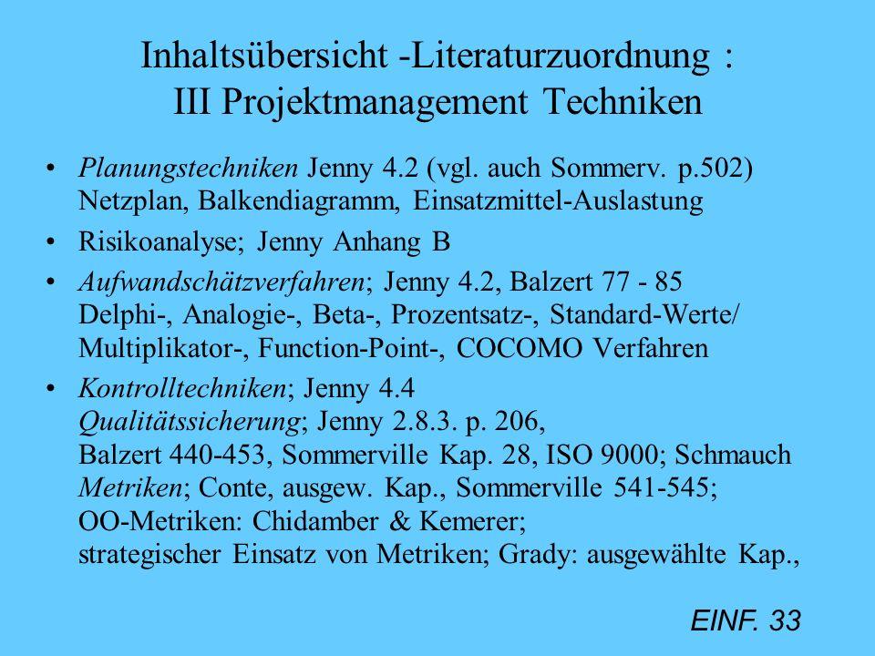 EINF. 33 Inhaltsübersicht -Literaturzuordnung : III Projektmanagement Techniken Planungstechniken Jenny 4.2 (vgl. auch Sommerv. p.502) Netzplan, Balke