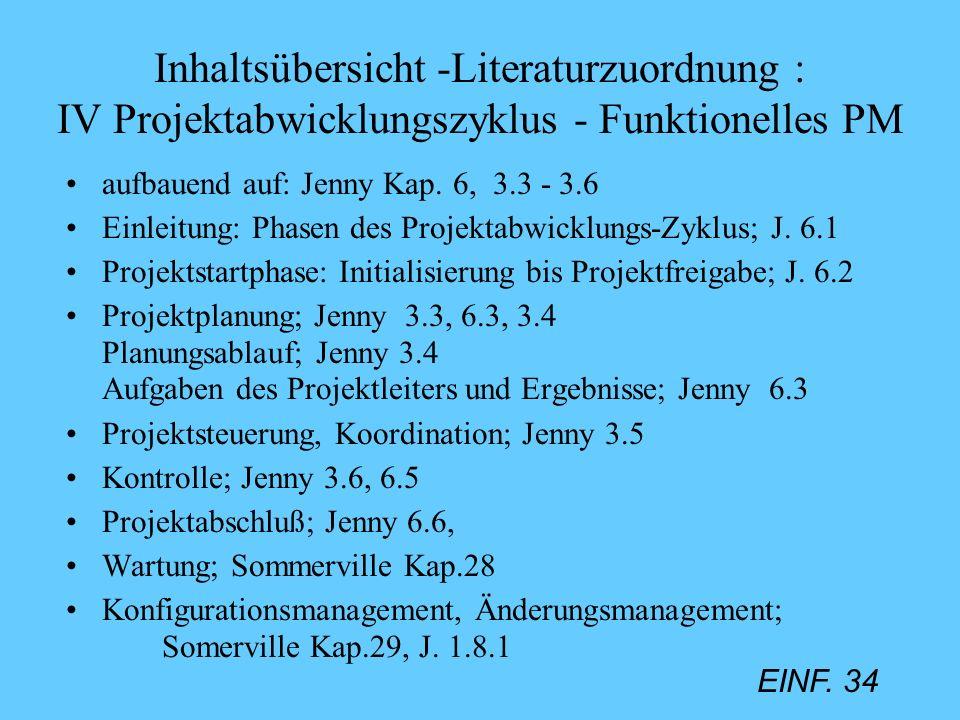 EINF. 34 Inhaltsübersicht -Literaturzuordnung : IV Projektabwicklungszyklus - Funktionelles PM aufbauend auf: Jenny Kap. 6, 3.3 - 3.6 Einleitung: Phas