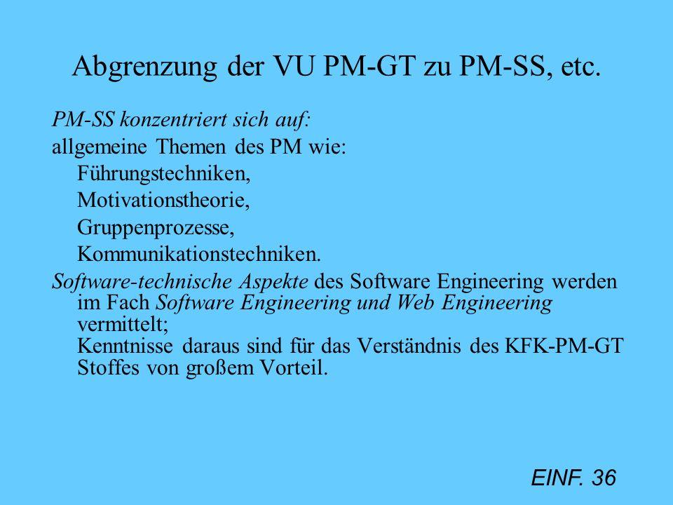 EINF. 36 Abgrenzung der VU PM-GT zu PM-SS, etc. PM-SS konzentriert sich auf: allgemeine Themen des PM wie: Führungstechniken, Motivationstheorie, Grup