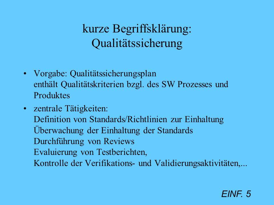 EINF. 5 kurze Begriffsklärung: Qualitätssicherung Vorgabe: Qualitätssicherungsplan enthält Qualitätskriterien bzgl. des SW Prozesses und Produktes zen