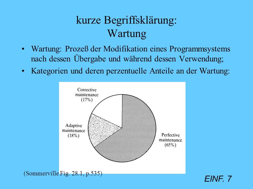 EINF. 7 kurze Begriffsklärung: Wartung Wartung: Prozeß der Modifikation eines Programmsystems nach dessen Übergabe und während dessen Verwendung; Kate