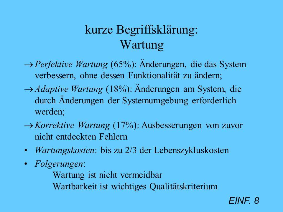 EINF. 8 kurze Begriffsklärung: Wartung Perfektive Wartung (65%): Änderungen, die das System verbessern, ohne dessen Funktionalität zu ändern; Adaptive