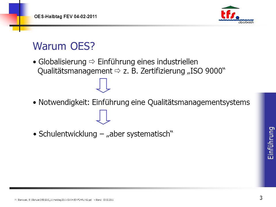 Einführung OES-Halbtag FEV 04-02-2011 M. Staniczek, E:\0Schule\OES\SJ10_11\Halbtag2011-02-04\EINFÜHRUNG.ppt – Stand: 03.02.2011 3 Warum OES? Schulentw