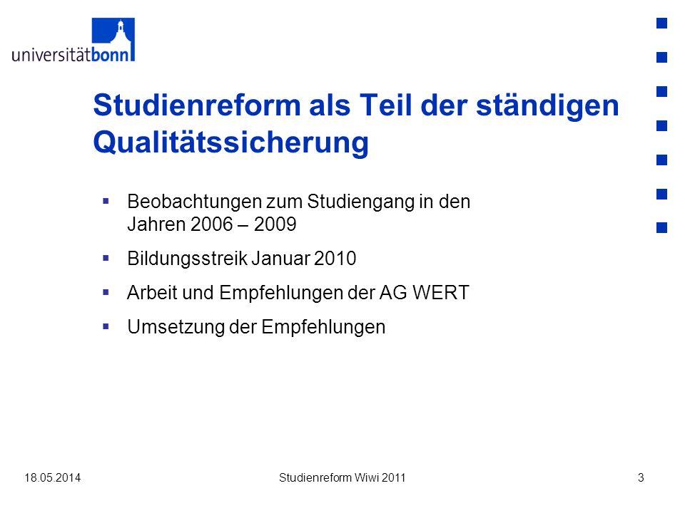 Studienreform als Teil der ständigen Qualitätssicherung Beobachtungen zum Studiengang in den Jahren 2006 – 2009 Bildungsstreik Januar 2010 Arbeit und Empfehlungen der AG WERT Umsetzung der Empfehlungen 18.05.2014Studienreform Wiwi 20113