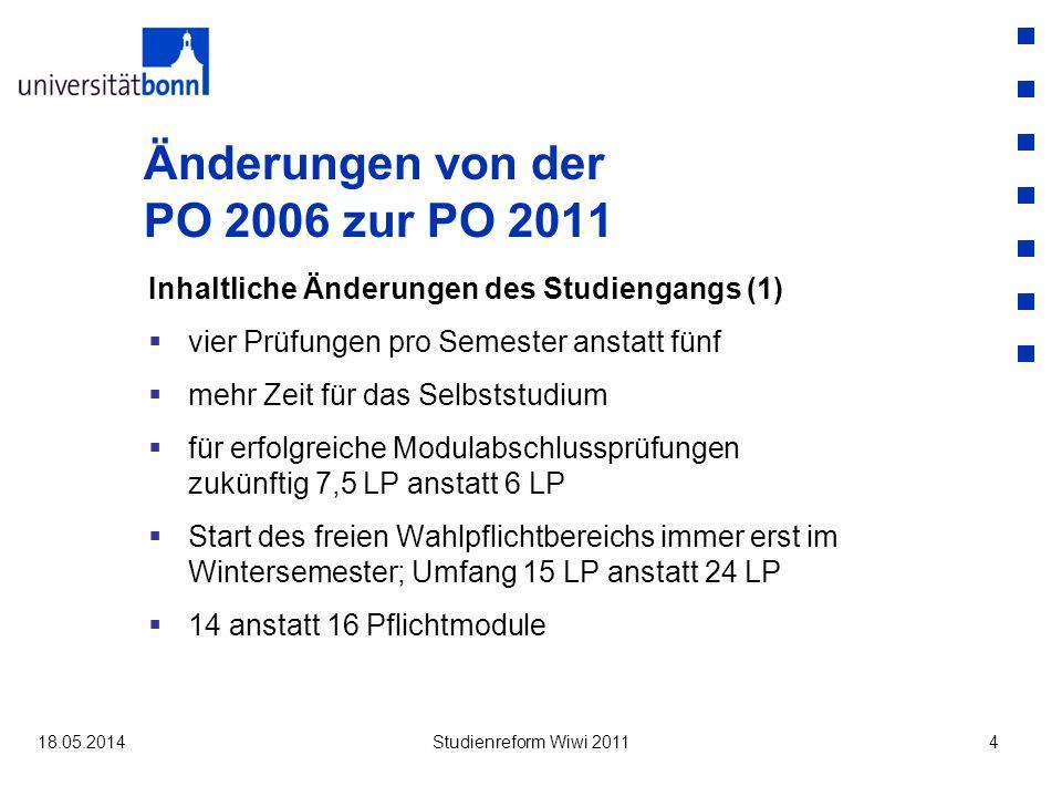 Überführungsregeln Pflichtmodule Mathematik B und Ökonometrie Mathematik B / Ökonometrie beides bestanden neues Pflichtmodul ist bestanden (Note des Pflicht-moduls ist die Note des alten Moduls Mathematik B) Überführung von Ökonometrie in den fachgebundenen Wahlpflichtbereich (Methoden) Sonderantrag: Umbuchung der Ökonometrie als Zusatzleistung ohne Einfluss auf die Gesamtnote 18.05.2014Studienreform Wiwi 201115