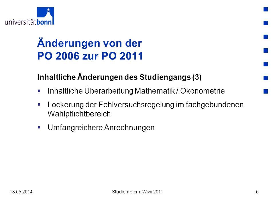 Information und Studienberatung alle Informationen unter dem Stichwort Neue Bachelorprüfungsordnung 2011 auf der Homepage des Wirtschaftswissenschaftlichen Prüfungsamtes (www.vwlpamt.uni-bonn.de) Sonderveranstaltung für Fragen zur neuen Prüfungsordnung Dienstag, den 21.