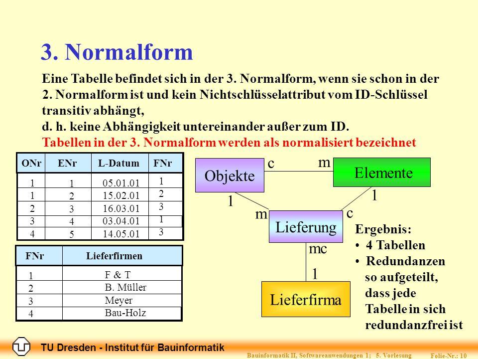 TU Dresden - Institut für Bauinformatik Folie-Nr.: 10 Bauinformatik II, Softwareanwendungen 1; 5.