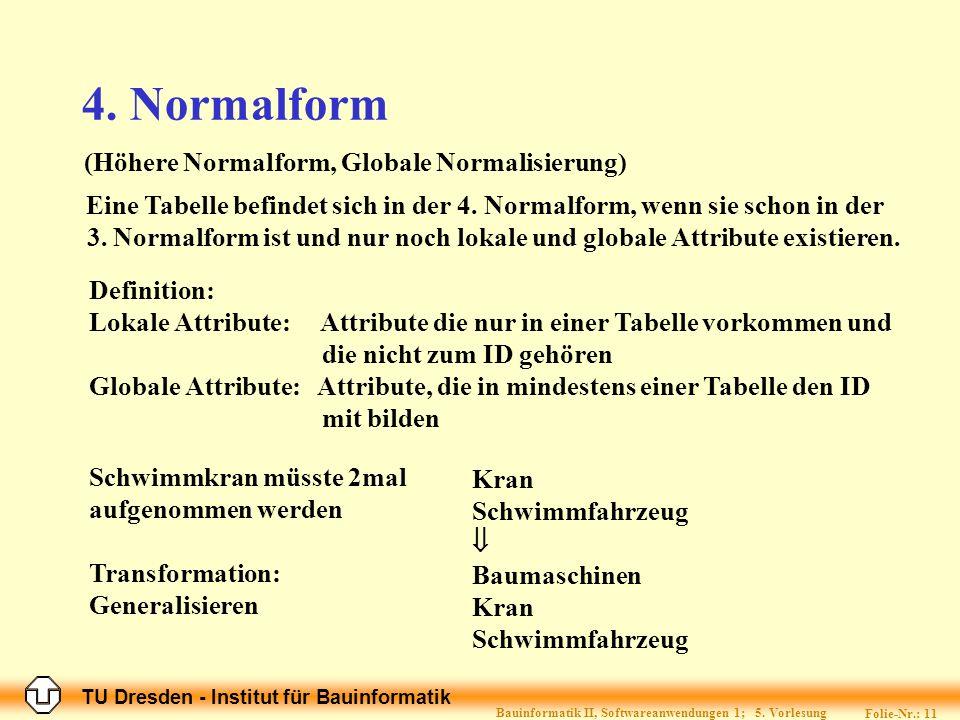 TU Dresden - Institut für Bauinformatik Folie-Nr.: 11 Bauinformatik II, Softwareanwendungen 1; 5.