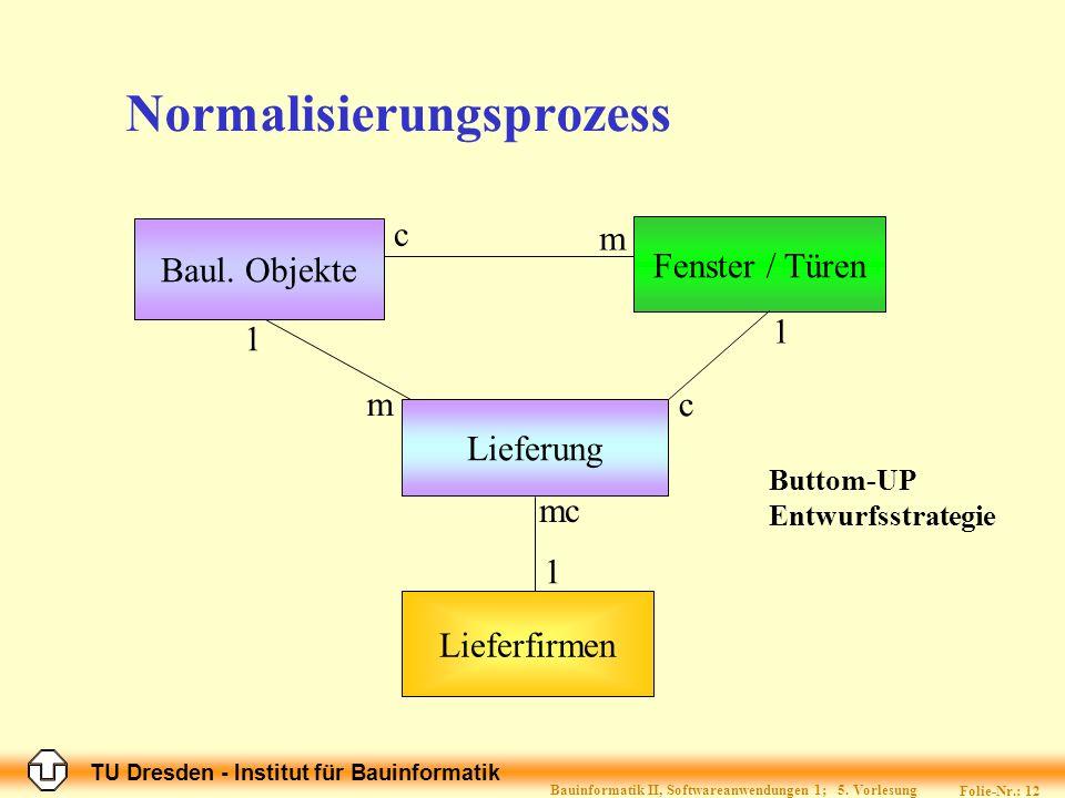 TU Dresden - Institut für Bauinformatik Folie-Nr.: 12 Bauinformatik II, Softwareanwendungen 1; 5.