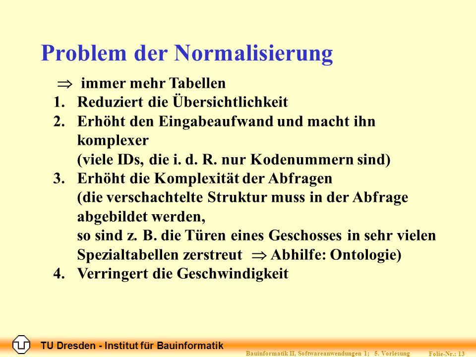 TU Dresden - Institut für Bauinformatik Folie-Nr.: 13 Bauinformatik II, Softwareanwendungen 1; 5.