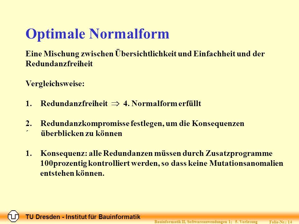 TU Dresden - Institut für Bauinformatik Folie-Nr.: 14 Bauinformatik II, Softwareanwendungen 1; 5.