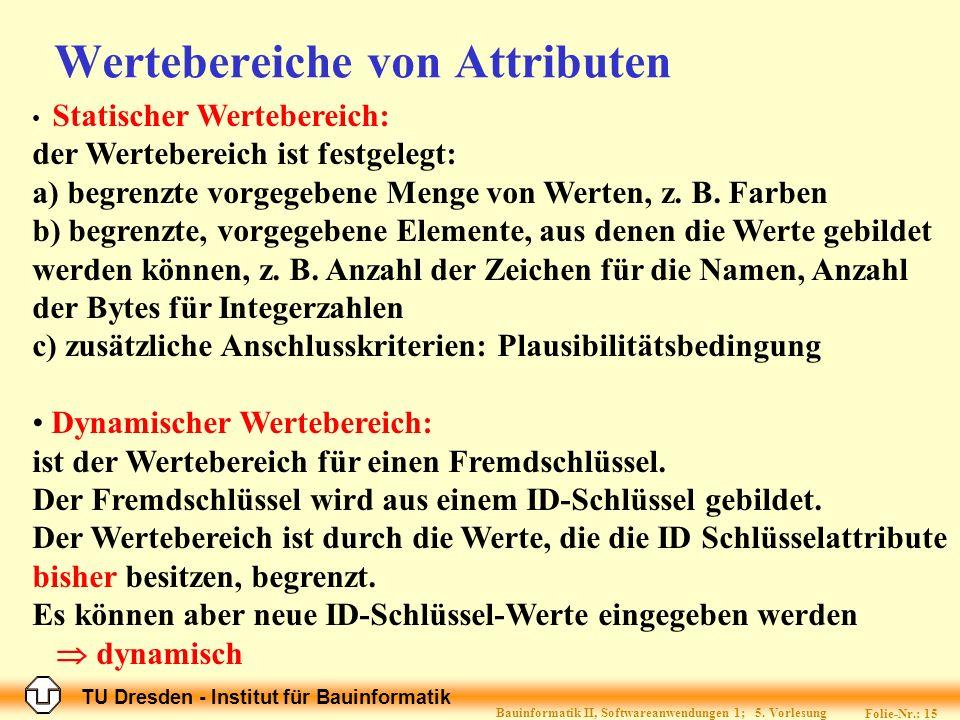 TU Dresden - Institut für Bauinformatik Folie-Nr.: 15 Bauinformatik II, Softwareanwendungen 1; 5.