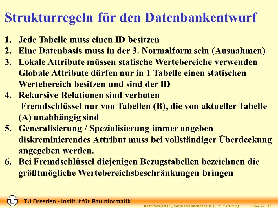 TU Dresden - Institut für Bauinformatik Folie-Nr.: 16 Bauinformatik II, Softwareanwendungen 1; 5.