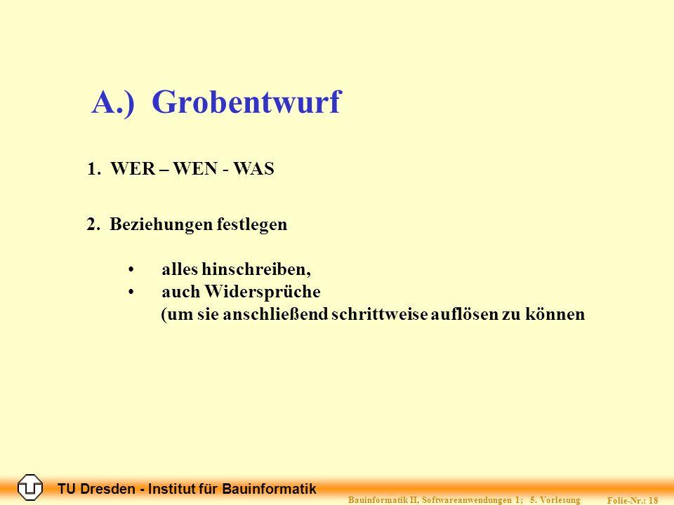 TU Dresden - Institut für Bauinformatik Folie-Nr.: 18 Bauinformatik II, Softwareanwendungen 1; 5.