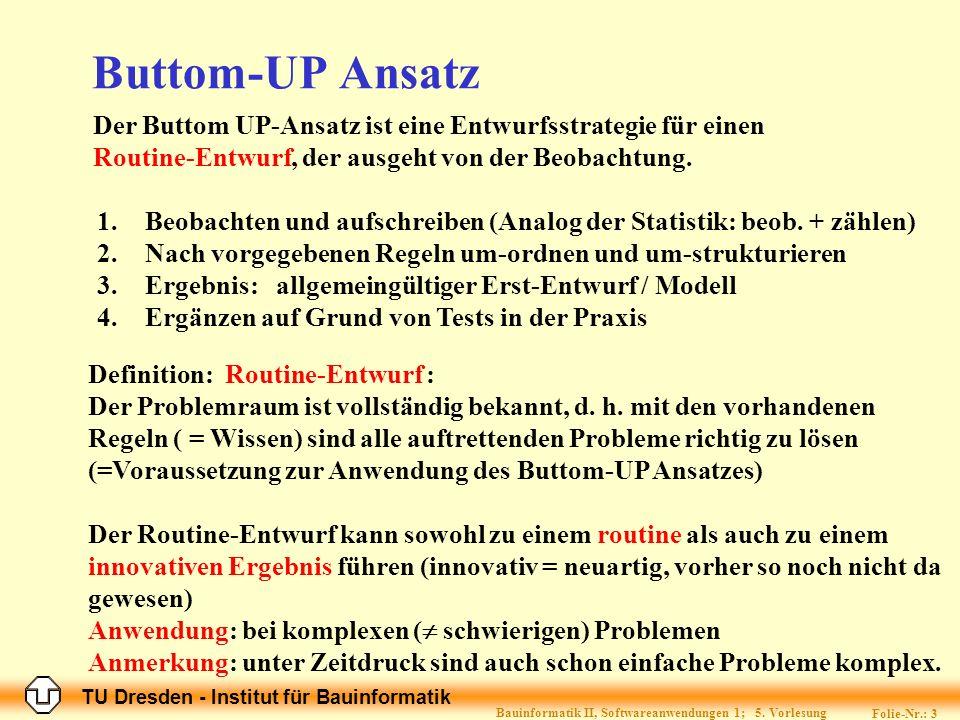 TU Dresden - Institut für Bauinformatik Folie-Nr.: 3 Bauinformatik II, Softwareanwendungen 1; 5.