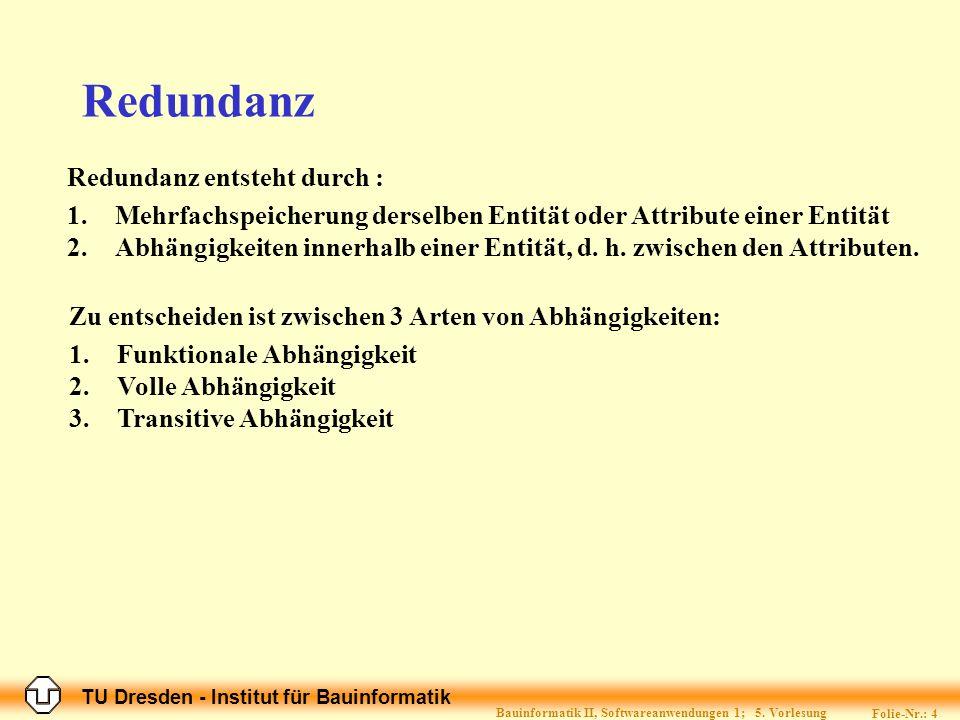 TU Dresden - Institut für Bauinformatik Folie-Nr.: 4 Bauinformatik II, Softwareanwendungen 1; 5.