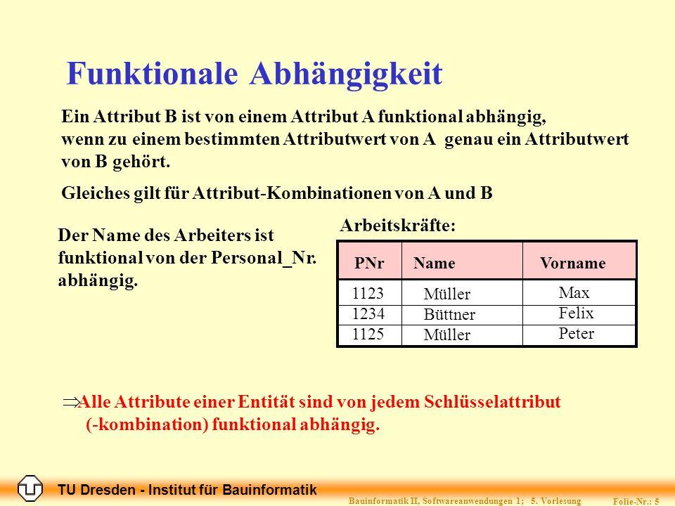 TU Dresden - Institut für Bauinformatik Folie-Nr.: 5 Bauinformatik II, Softwareanwendungen 1; 5.