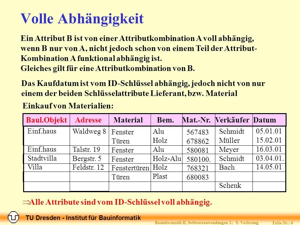 TU Dresden - Institut für Bauinformatik Folie-Nr.: 6 Bauinformatik II, Softwareanwendungen 1; 5.