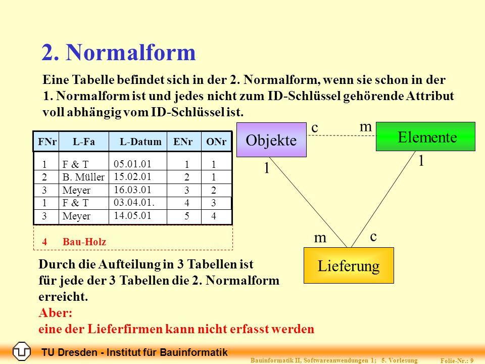 TU Dresden - Institut für Bauinformatik Folie-Nr.: 9 Bauinformatik II, Softwareanwendungen 1; 5.