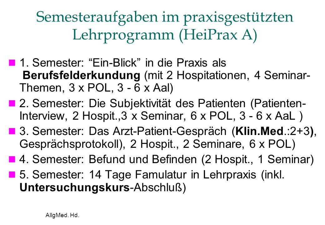 AllgMed. Hd. Semesteraufgaben im praxisgestützten Lehrprogramm (HeiPrax A) 1.