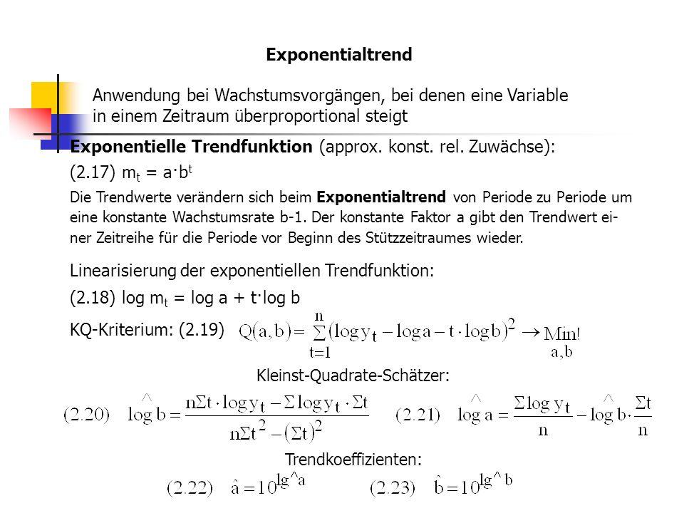 Exponentialtrend Anwendung bei Wachstumsvorgängen, bei denen eine Variable in einem Zeitraum überproportional steigt Exponentielle Trendfunktion (approx.