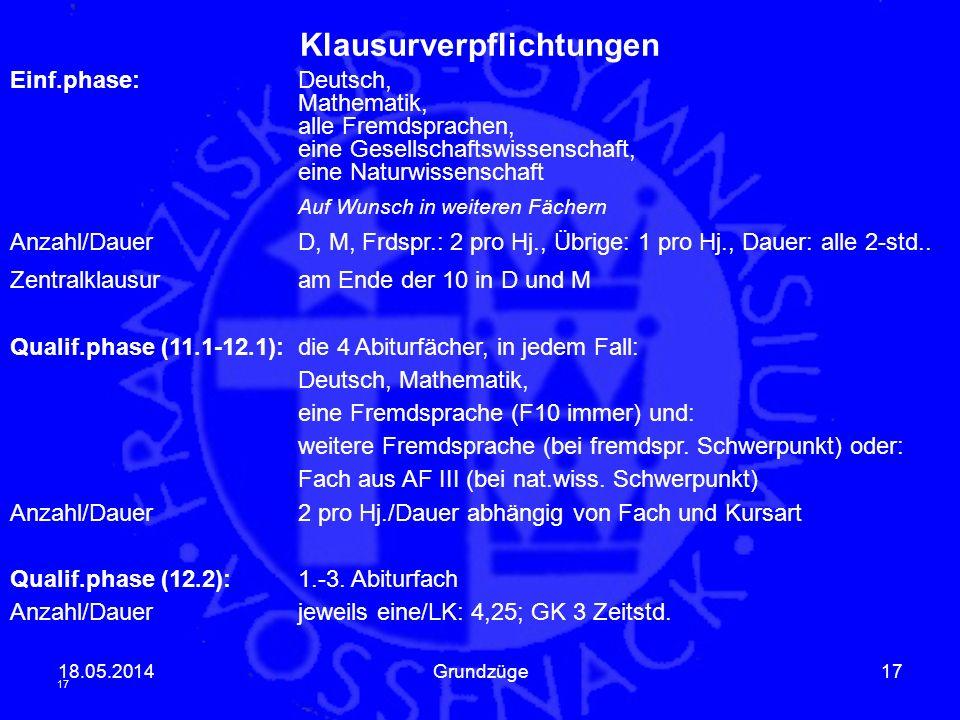 18.05.2014Grundzüge17 Klausurverpflichtungen Einf.phase:Deutsch, Mathematik, alle Fremdsprachen, eine Gesellschaftswissenschaft, eine Naturwissenschaf