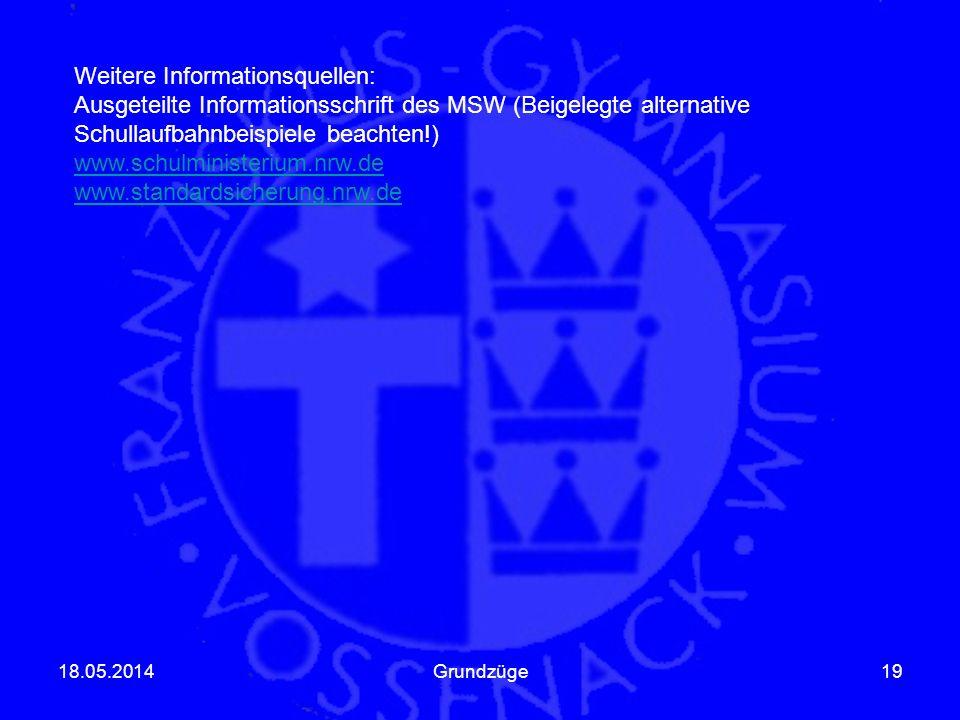 Weitere Informationsquellen: Ausgeteilte Informationsschrift des MSW (Beigelegte alternative Schullaufbahnbeispiele beachten!) www.schulministerium.nr