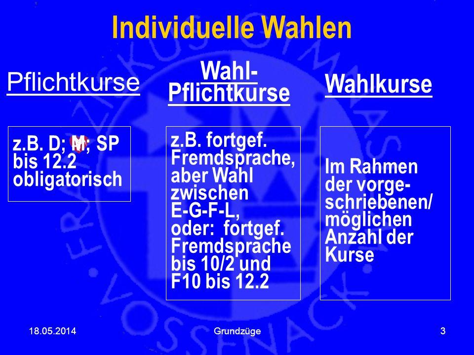 Pflichtkurse 18.05.2014Grundzüge3 Individuelle Wahlen Wahl- Pflichtkurse Wahlkurse z.B. D; M; SP bis 12.2 obligatorisch z.B. fortgef. Fremdsprache, ab