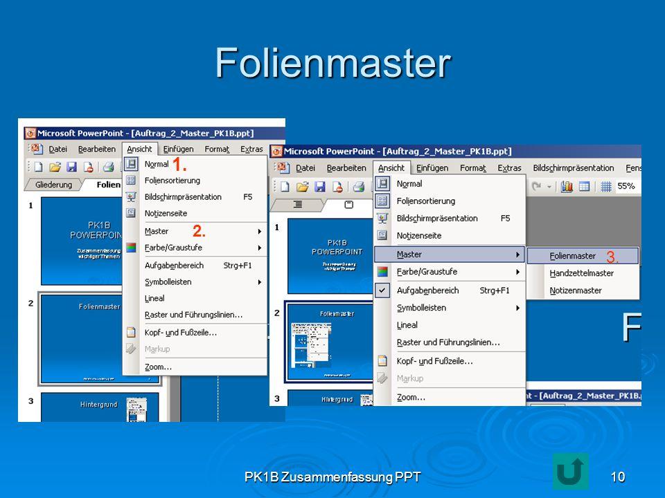PK1B Zusammenfassung PPT10 Folienmaster 1. 2. 3.