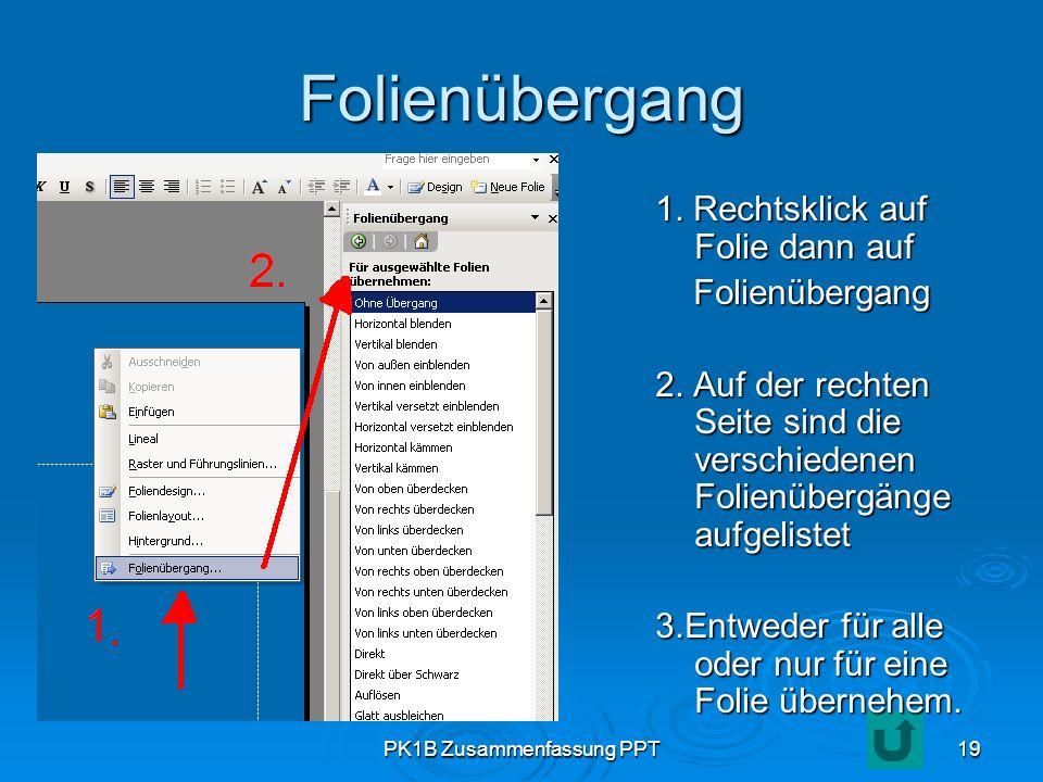 PK1B Zusammenfassung PPT19 Folienübergang 1. Rechtsklick auf Folie dann auf Folienübergang Folienübergang 2. Auf der rechten Seite sind die verschiede