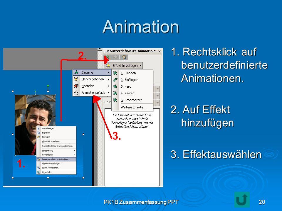 PK1B Zusammenfassung PPT20 Animation 1. Rechtsklick auf benutzerdefinierte Animationen. 2. Auf Effekt hinzufügen 3. Effektauswählen