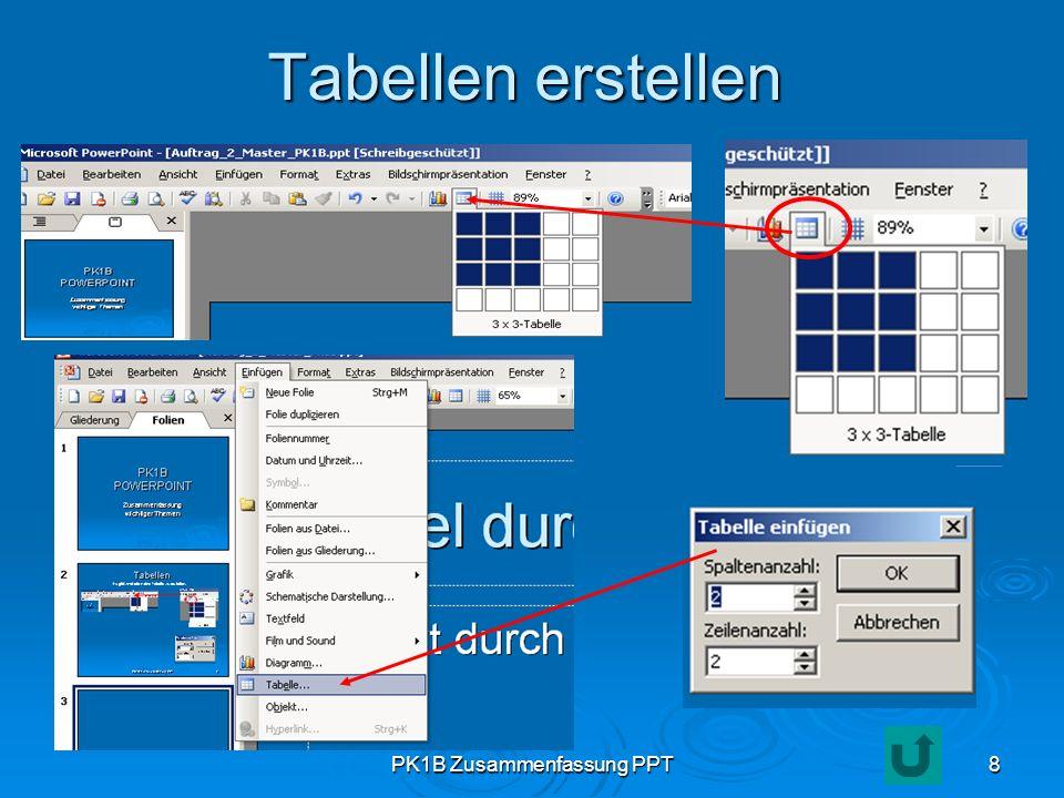 PK1B Zusammenfassung PPT8 Tabellen erstellen