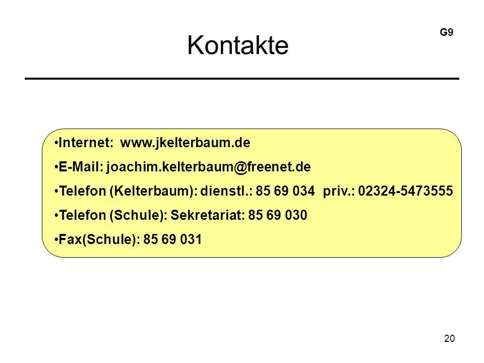 20 Kontakte Internet: www.jkelterbaum.de E-Mail: joachim.kelterbaum@freenet.de Telefon (Kelterbaum): dienstl.: 85 69 034 priv.: 02324-5473555 Telefon (Schule): Sekretariat: 85 69 030 Fax(Schule): 85 69 031 G9