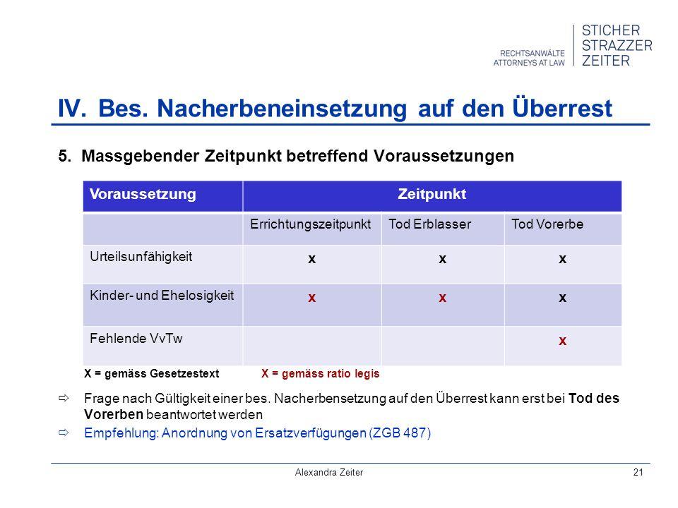 Alexandra Zeiter21 IV.Bes. Nacherbeneinsetzung auf den Überrest 5.
