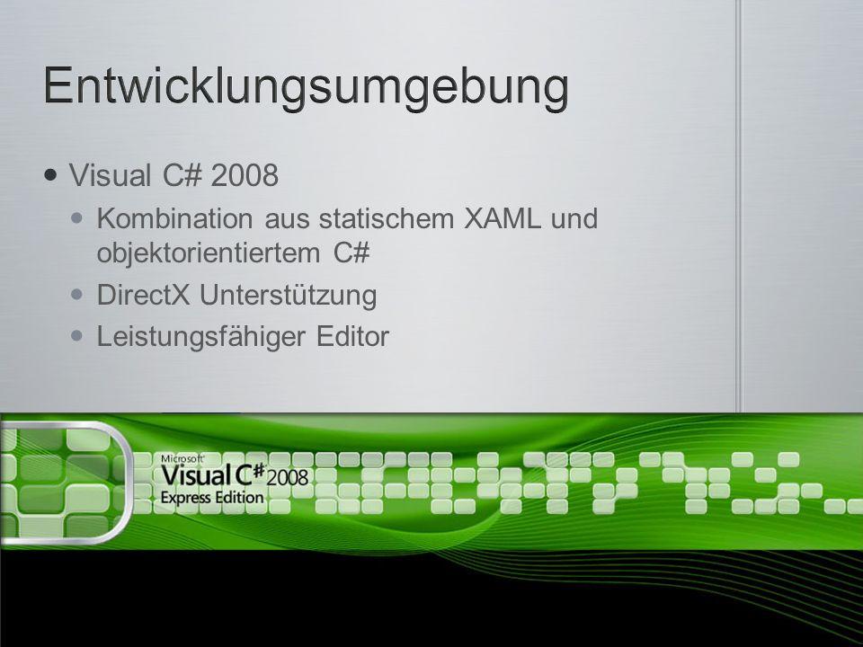 Visual C# 2008 Kombination aus statischem XAML und objektorientiertem C# DirectX Unterstützung Leistungsfähiger Editor