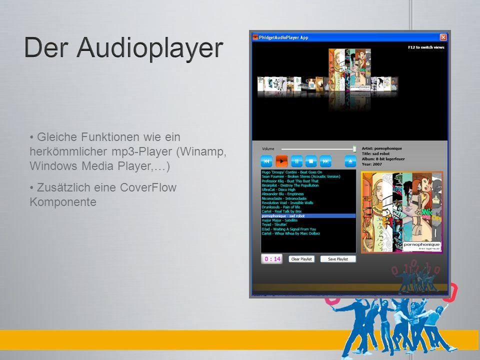 Gleiche Funktionen wie ein herkömmlicher mp3-Player (Winamp, Windows Media Player,…) Zusätzlich eine CoverFlow Komponente