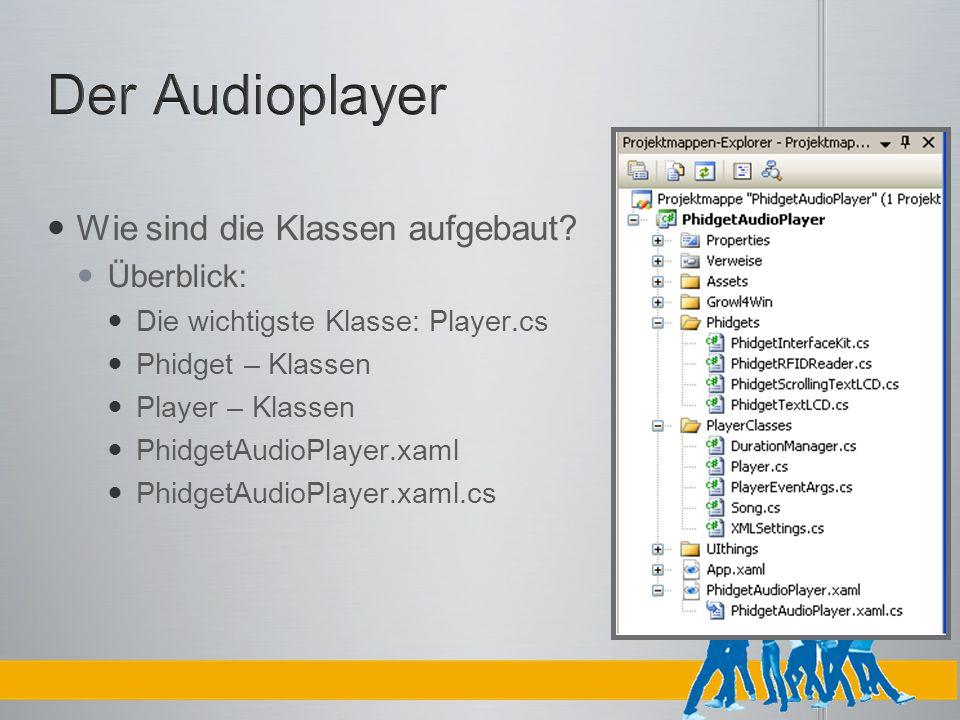 Wie sind die Klassen aufgebaut? Überblick: Die wichtigste Klasse: Player.cs Phidget – Klassen Player – Klassen PhidgetAudioPlayer.xaml PhidgetAudioPla