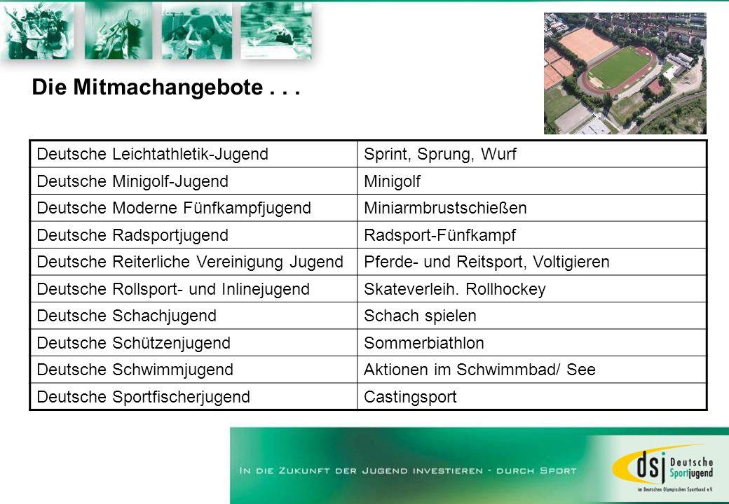 Die Mitmachangebote... Deutsche Leichtathletik-JugendSprint, Sprung, Wurf Deutsche Minigolf-JugendMinigolf Deutsche Moderne FünfkampfjugendMiniarmbrus