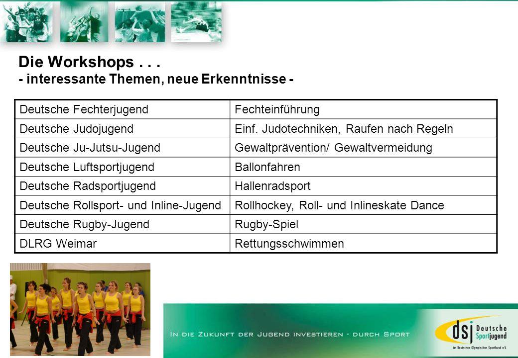 Die Workshops... - interessante Themen, neue Erkenntnisse - Deutsche FechterjugendFechteinführung Deutsche JudojugendEinf. Judotechniken, Raufen nach