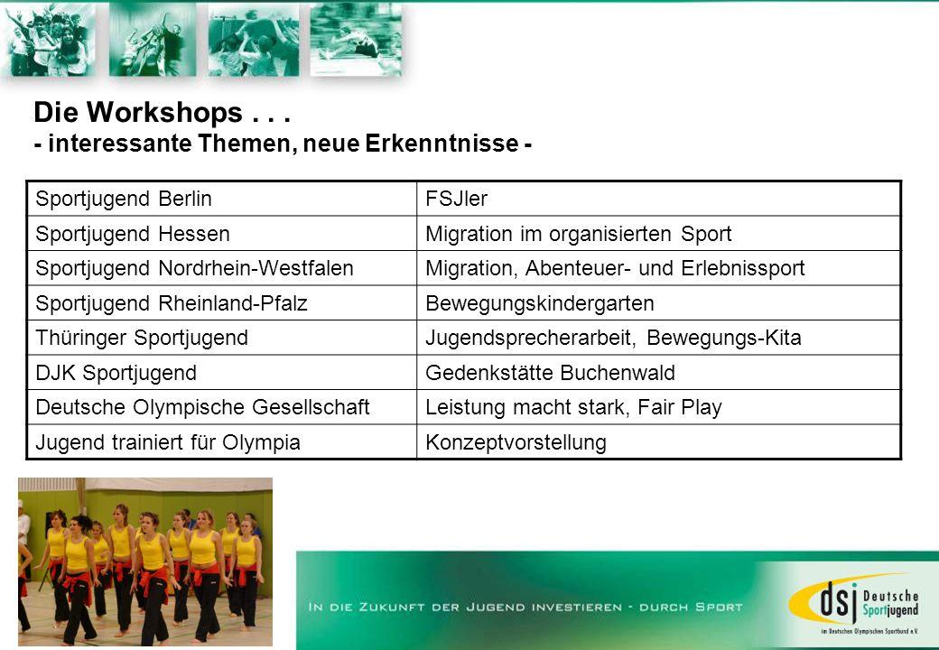 Die Workshops... - interessante Themen, neue Erkenntnisse - Sportjugend BerlinFSJler Sportjugend HessenMigration im organisierten Sport Sportjugend No