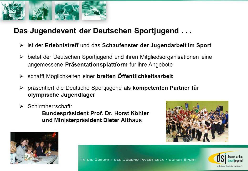 Das Jugendevent der Deutschen Sportjugend... ist der Erlebnistreff und das Schaufenster der Jugendarbeit im Sport bietet der Deutschen Sportjugend und