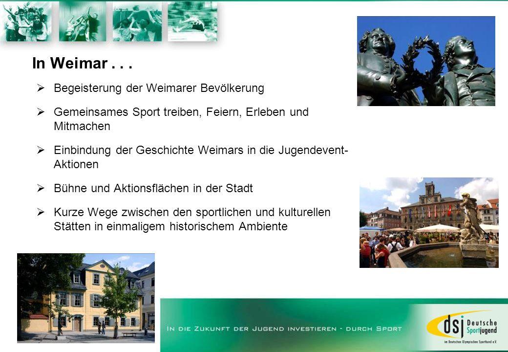 In Weimar... Begeisterung der Weimarer Bevölkerung Gemeinsames Sport treiben, Feiern, Erleben und Mitmachen Einbindung der Geschichte Weimars in die J