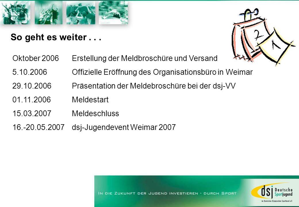 So geht es weiter... Oktober 2006 Erstellung der Meldbroschüre und Versand 5.10.2006 Offizielle Eröffnung des Organisationsbüro in Weimar 29.10.2006 P